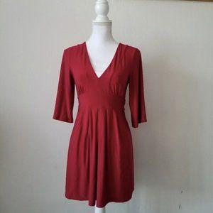 Express Red V-neckline Dress Shirt 3/4 sleeve